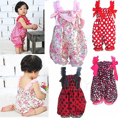 Lovely Toddler Baby Girl Strap Bloomers One-Piece Ruffle Rompers Clothes Sets
