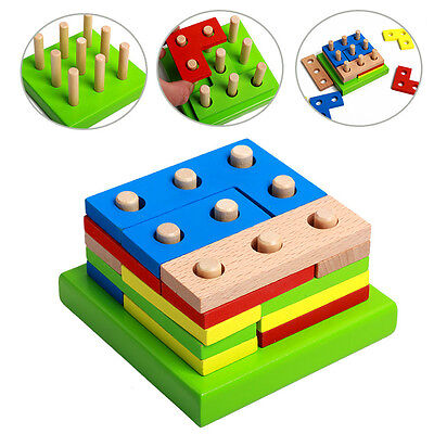 Wooden Geometry Block Puzzle Montessori Kids Baby Early Learning Educational Toy