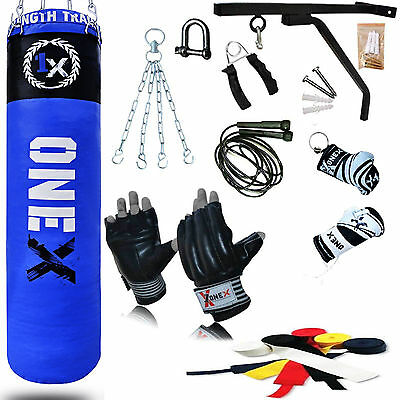 NEW 15 PCS 5FT Heavy Filled Boxing Punch Bag Set,Gloves,Bracket,Chains MMA Pad