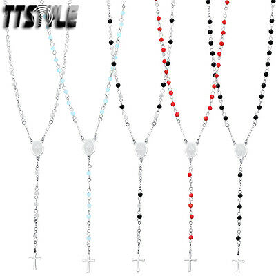 TTstyle Stainless Steel Rosary 3.5mm Gemstone Bead Necklace 6 Colours Available