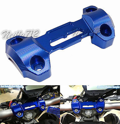 CNC HandleBar Risers Mount Clamp Top Cover Blue Fit 2013-2016 YAMAHA MT-09 FZ-09