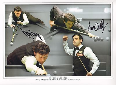 SNOOKER LEGENDS-SIGNED 16x12 PHOTO by JIMMY WHITE & RONNIE O'SULLIVAN-AFTAL/UACC