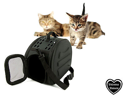 Valentina Valentti  Cat Kitten Small Animals Pet Carrier With Strap Black Colour