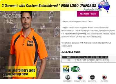 3  x HI VIS  Work shirts with Your Embroidered * FREE  LOGO  WORKWEAR  039