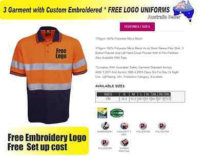 3  x HI VIS  Work shirts with Your Embroidered * FREE  LOGO  WORKWEAR  038
