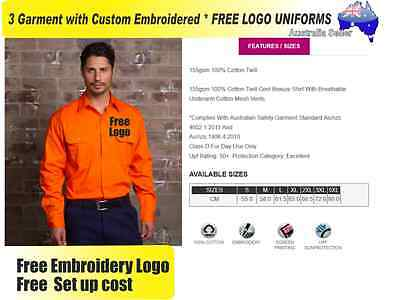 3  x HI VIS  Work shirts with Your Embroidered * FREE  LOGO  WORKWEAR style8017*