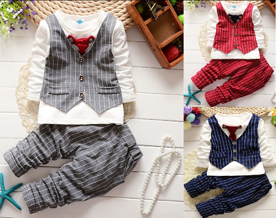 2PCS Baby Boys Outfit Toddler Boy Kids Wedding Outfits Top Clothes + Pants suit