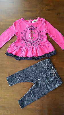 juicycouture 2 pc pink girl' outfit set tunic long shirt +jeans style leggings