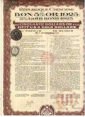China: Republique Chinoise  5% Gold Bond  uncancelled / Coupons