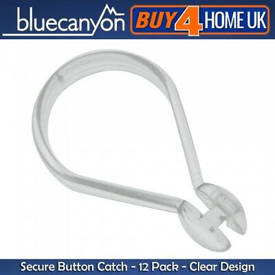 Blue Canyon Clear Button Shower Curtain Hook - 12 Pack Plastic Rings for Rails