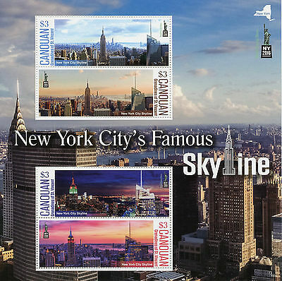 Canouan Gren St Vincent 2016 MNH New York City Famous Skyline NY2016 4v M/S