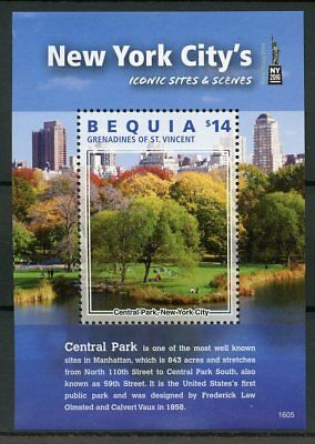 Bequia Gren St Vincent 2016 MNH New York Iconic Sites & Scenes NY2016 1v S/S