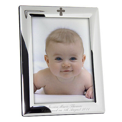 "Personalised Silver Plated Christening Photo Frame 5"" x 7"" Engraved Picture Gift"