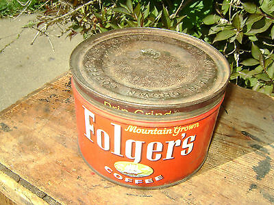Older Collectible 1 lb Folger's Coffee Tin.
