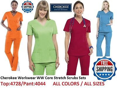 Cherokee Workwear WW Core Stretch Scrubs Sets (Top:4728/Pant:4044) All Colors