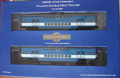 Nswr 1964 Tulloch Double Deck Electric Suburban Traler Car Blue, Low White Band