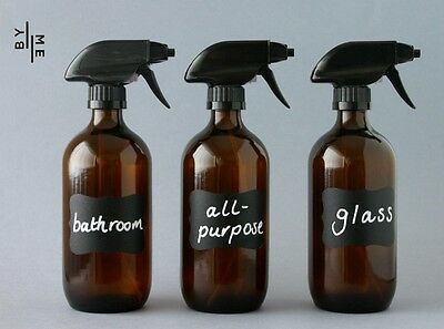3 x 500ml amber glass spray bottles with labels & NEW SUPERIOR triggers
