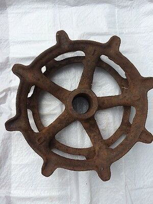 Old Rusty Cast Iron Metal Farm Large 8'  Double Wheel Steampunk