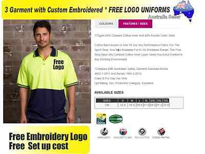 3  x HI VIS  Work shirts with Your Embroidered * FREE  LOGO  WORKWEAR  114