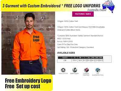 3  x HI VIS  Work shirts with Your Embroidered * FREE  LOGO  WORKWEAR 120