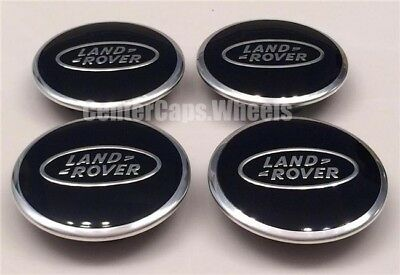 "(4x) NEW Land Rover Range Rover 2.5"" POLISHED BLACK Center Caps 63mm Hub Caps"