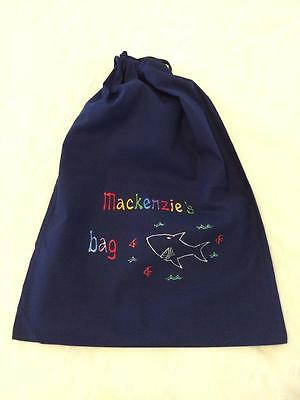 Boy's personalised library bag drawstring handmade sport toy bag made to order