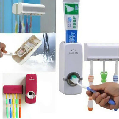 Toothbrush Holder Wall Mount Auto Rack Stand Toothpaste Dispenser +5 Set
