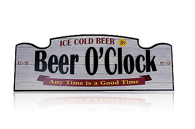 BEER O'CLOCK Large Wall Sign - Man Cave Bar Garage Workshop Fathers Day