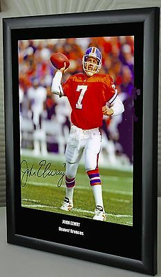 "John Elway Denver Broncos Framed Canvas Portrait Signed ""Great Gift"""