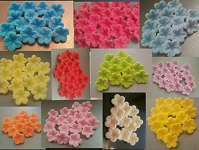 30 Edible Sugar Flowers Cup Cake Decorations Toppers Wedding Birthday Baby Showe