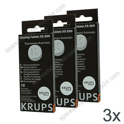3X Krups Xs3000 Cleaning Tablets For Coffee Espresso Machine Xp, Ea, Es Models