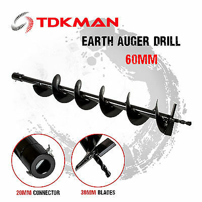 60mm Auger Bit Drill for Petrol Post Hole Digger, Earth Auger, Standard 20mm