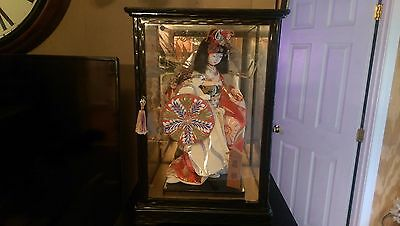 Antique Asian Silk Kamona Doll in Hand made Display Case..Signed by Artist