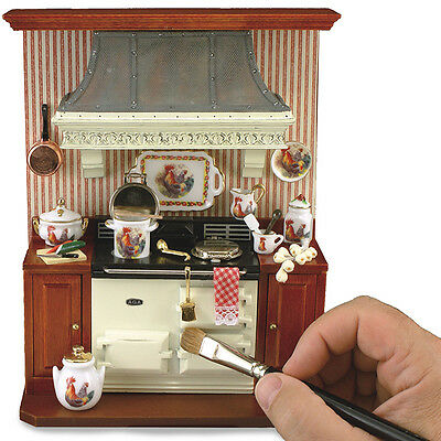 Reutter Porcelain Dolls House 1:12 Scale Aga with Surround 'Wallpicture' 1.801/0
