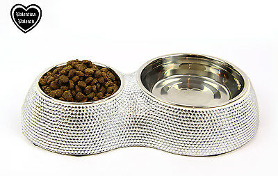 Valentina Valentti Cat Dog Pet Feeder Crystallised Double Pet Food Bowl Silver S