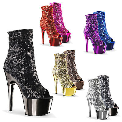 PLEASER Adore-1008SQ Glamorous Ruched Ankle Boots Sequin Covereed Peep Toe