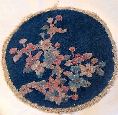 ANTIQUE CHINESE SMALL WOVEN CIRCULAR  MAT / RUG - Cherry Blossom PATTERN