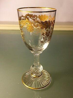 "Saint St Louis French Crystal ""Massenet"" Gold Cordial Glass(es) EXCELLENT"