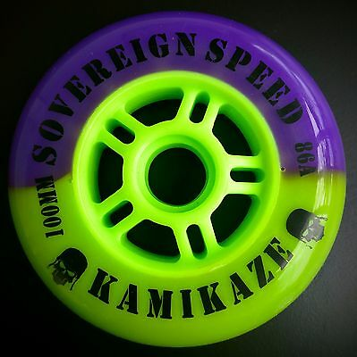 6 Pack New Kamikaze 100mm Inline Wheels , Fitness Speed Skates Rollerblade 86a