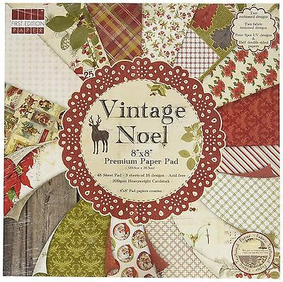 """First Edition 'Vintage Noel' 8"""" x 8"""" Premium Papers 16 SHEETS"""