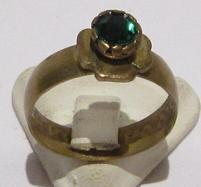 VINTAGE NICE BRONZE RING WITH GREEN STONE FROM THE EARLY 20th CENTURY # 1B
