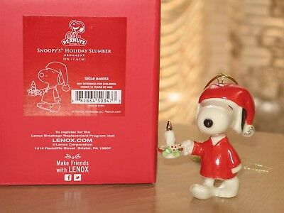 Lenox Peanuts Snoopy Holiday Slumber Christmas Ornament New in Box