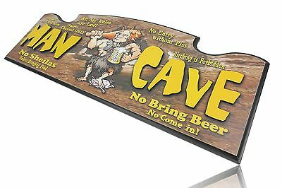 MAN CAVE Large Wooden Wall Sign - Man Cave Bar Kitchen Fathers Day