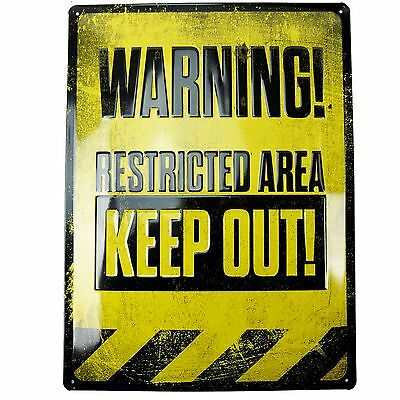 WARNING! RESTRICTED AREA KEEP OUT Wall Sign - Man Cave Pool Room