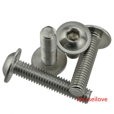 10-100Pcs M3-M6 304 Stainless Steel Hexagonal Socket Flanged Button Head Screws