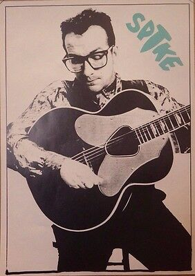 """MUSIC POSTER~Elvis Costello """"SPIKE"""" With Guitar B/W NOS 1989 Album UK Import~"""