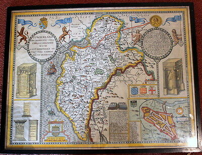 Original 1610 John Speed English Map of Cumberland HAND COLOURED w/ATLAS ENTRY
