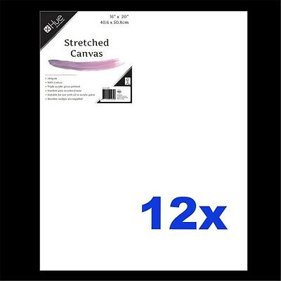 12x Canvas Stretched Cotton 280gsm 17mm 16x20in W16.1 FSC-100% Wholesale Bulk