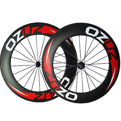 OZUZ 700C 88mm Clincher Wheelset (Front & Rear) Carbon Road Bike Bicycle Wheels