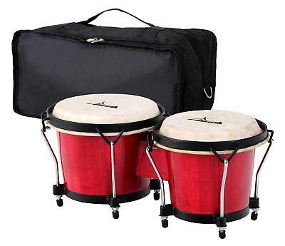 "Bongos Latin Hand Drum Percussion 6"" 7"" Gigbag Black Hardware Claret Finish Set"